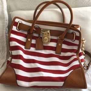 Michael Kors red& white striped bag